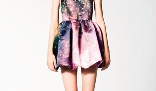 dress galaxy print galaxy dress pretty purple blue pink green black skirt galaxy skirt zip