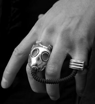 jewels gas mask ring two finger ring doctor who