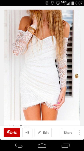 white lace bodycon dress off the shoulder dress