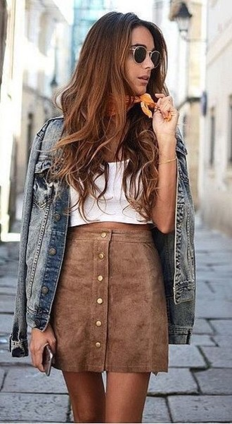 skirt suede brown crop top jeans sunglasses summer outfit street style denim jacket