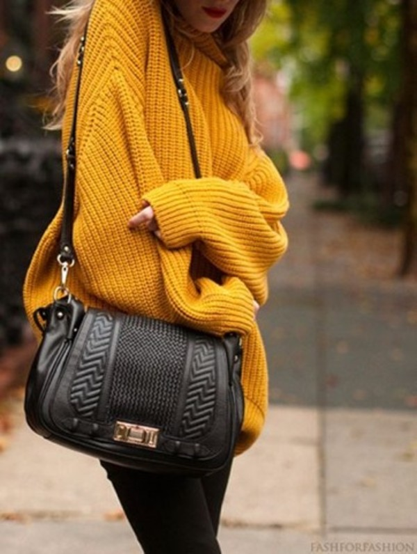 sweater oversized sweater black leggings crossover yellow yellow sweater knitted sweater fall outfits
