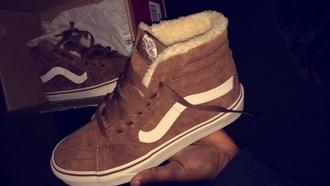 shoes brown suede sneakers vans off the wall nude fur fluffy cute cute vans daniel vans of the wall