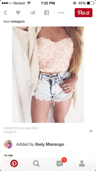 top bustier style strapless roses crop crop tops shorts