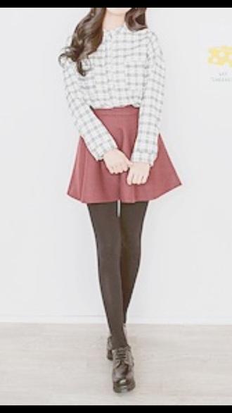flannel shirt top burgundy skirt