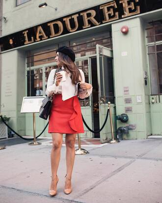 skirt beret hat tumblr parisian girl red skirt mini skirt pumps shirt white shirt bag black bag ruffle