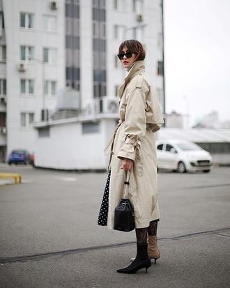 coat nude coat oversized trench coat oversized coat boots ankle boots bag bucket bag