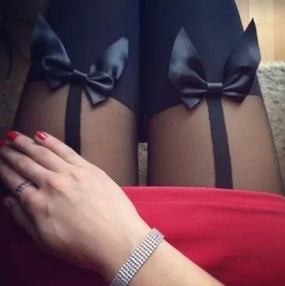 tights underwear top woman bows fack stocking black leggings thin bows bow tights red dress black tights little black dress