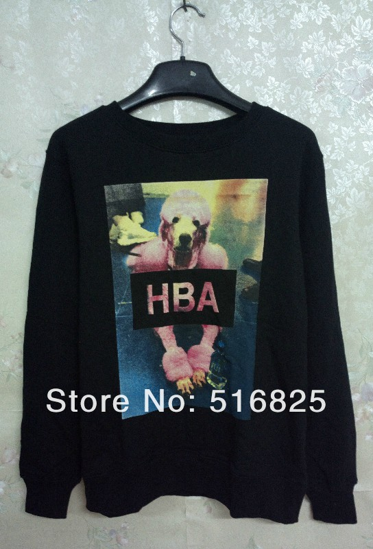 Cool ! 2013 fashion  women men  HBA HOOD BY AIR Pink Poodle Poodle lovers men and women long sleeve  sweater sweatshirt black on Aliexpress.com
