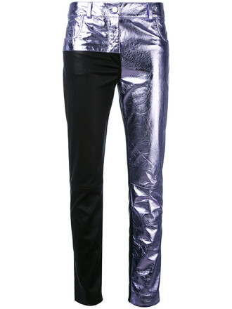 patchwork women leather purple pink pants