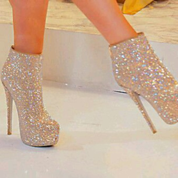 Shoes: sparkly shoes, glitter shoes, silver high heels sandals ...