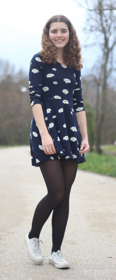 Sweet Daisy Print Long Sleeve Dress [FXBI00383] - PersunMall.com