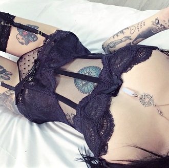underwear stockings hold ups cute sexy tattoo bra corset panties black lace lace lingerie lingerie lingerie set garter belt