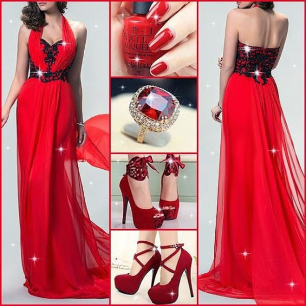 shoes red dress long ring everything red nail polish