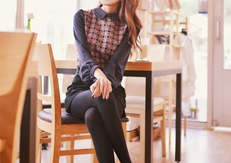 blouse grey red white polka dots korean style