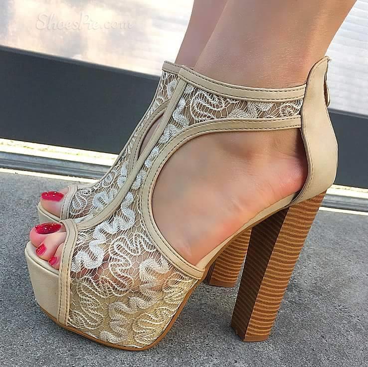 Lace Chunky Heel Platform Sandals