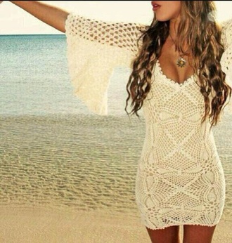 dress white crochet white dress beachy summer white crochet dress