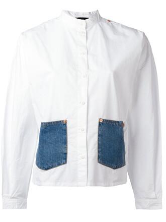 shirt denim women white cotton top