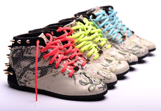 shoes spikes snake skin neon