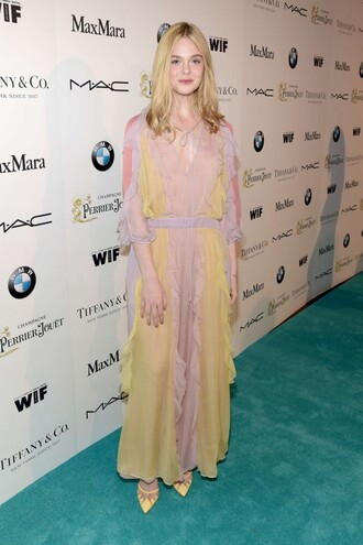 dress maxi dress elle fanning pumps
