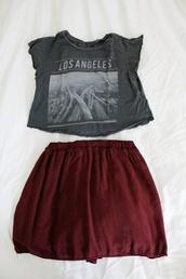 skirt,clothes,tank top,top,t-shirt,los angeles,burgundy,Roc Star,grunge
