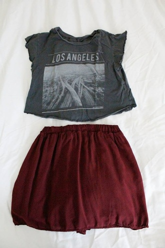 skirt clothes tank top top t-shirt los angeles burgundy roc star grunge