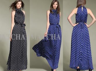 halter dress polka dots fashion dress blue dress womens fashion wear streetwear streetstyle little black dress