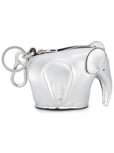 LOEWE women elephant purse silver leather grey metallic bag