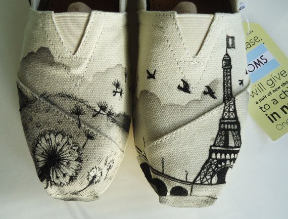 Dandelion eiffel tower toms by thelibertylama on etsy
