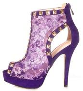 shoes,high heels,gold,violett high heels