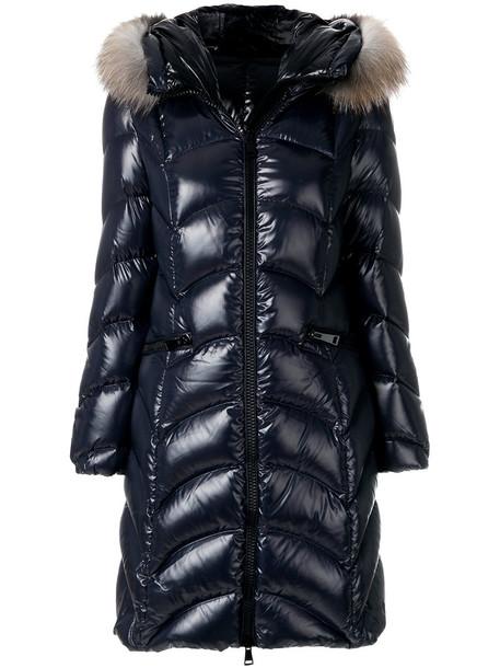 moncler parka fur fox women blue coat