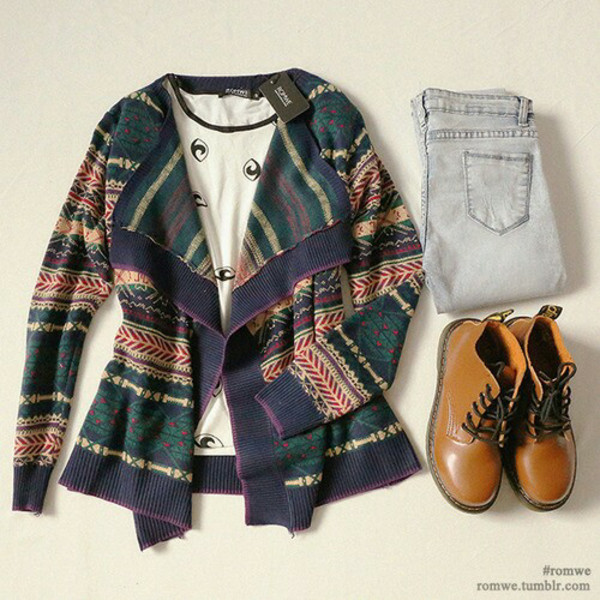 cardigan jeans brown fall outfits tribal cardigan