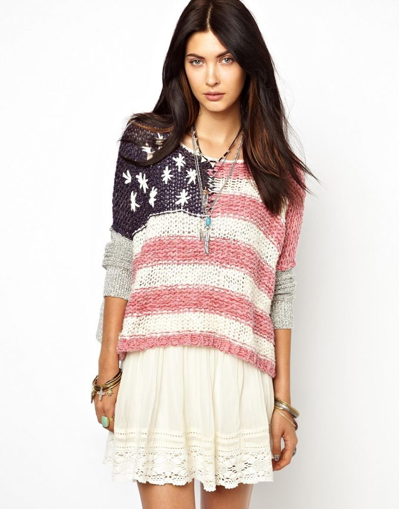 Free People Flag Ladies Oversized Sweater Red White Blue Sz L UK 14 EU 42 US 10 | eBay