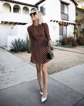 dress,brown dress,white shoes,bag,sunglasses,polka dots,mini dress,long sleeve dress,shoes
