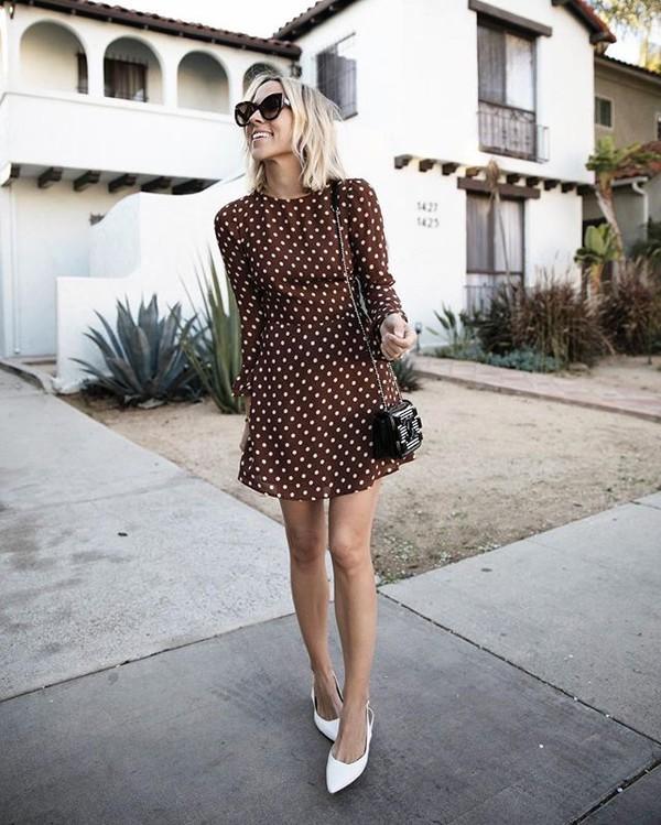 dress brown dress white shoes bag sunglasses polka dots mini dress long sleeve dress shoes