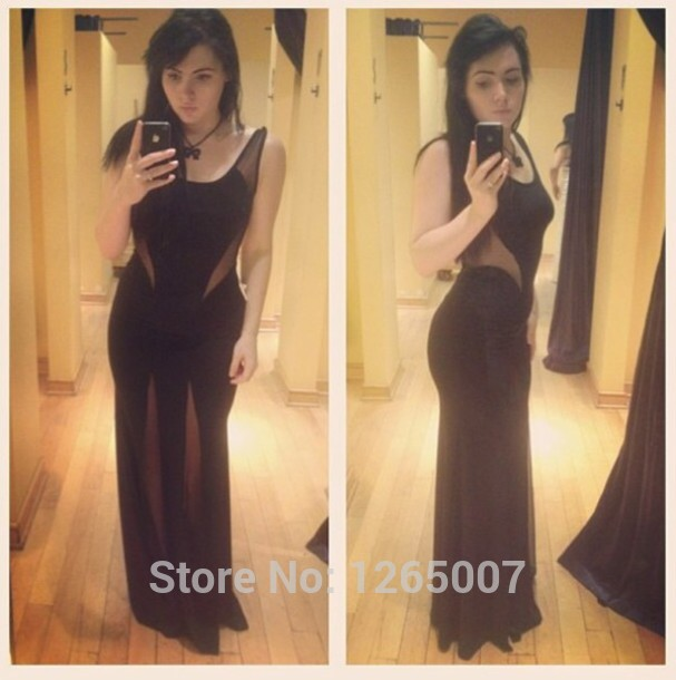 Aliexpress.com : Buy 2014 Fashion Black Boat Neck Cut Out Side Slit A Line Long Prom Dress Formal Maxi Long Dress Elegant from Reliable dress like a model suppliers on SFBridal