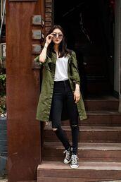 jacket,green,green jacket,khaki,white,long jacket,black,black ripped jeans from knee,converse,big glasses,sunglasses