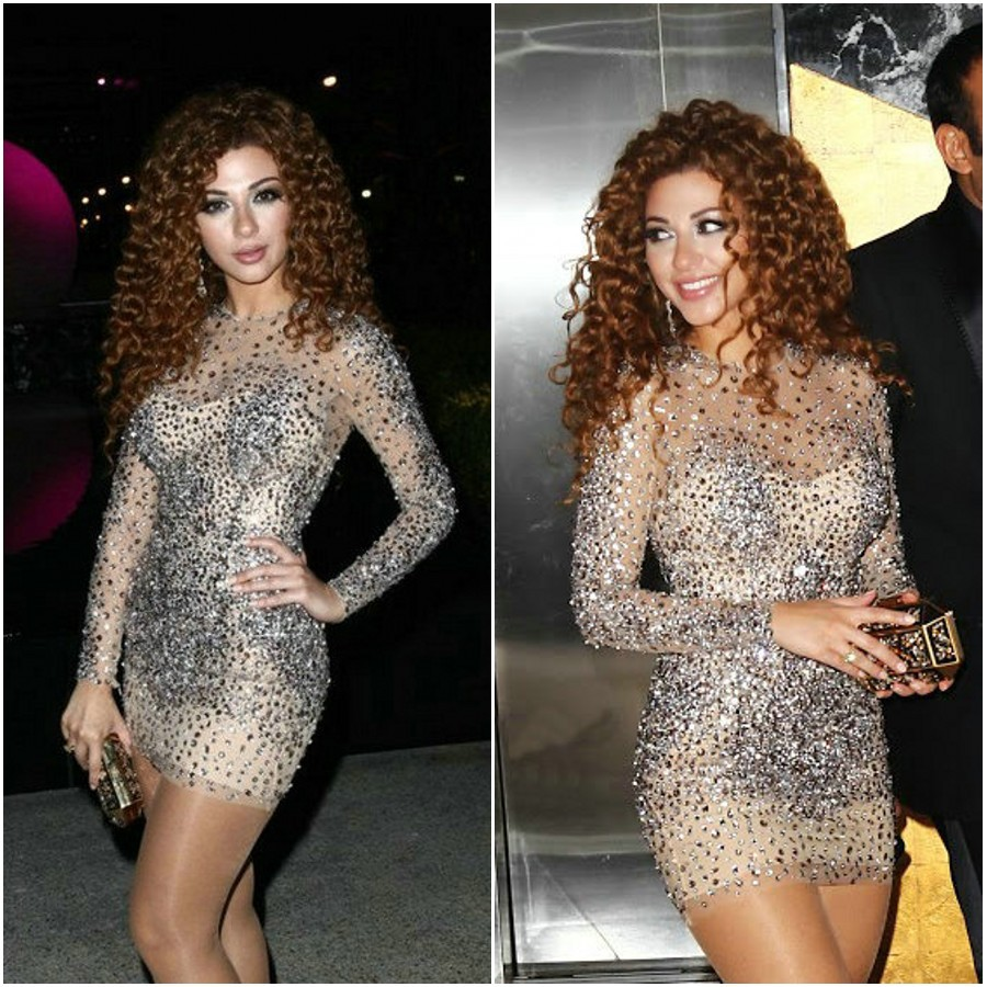 Aliexpress.com : Buy Sexy Silver Beaded Myriam Fares Long Sleeve Custome Hot Sparkly Short Celebrity Dress Free Shipping from Reliable dress to wear to a beach wedding suppliers on 27 Dress