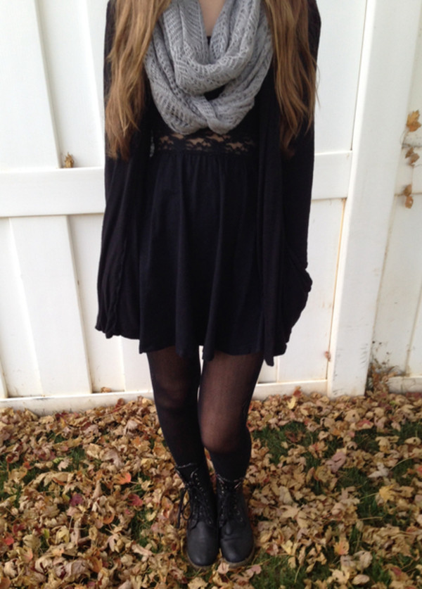 dress black dress lace black fall outfits combat boots scarf cute dress swimwear sweater