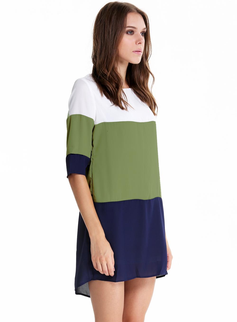 Vestido blanco verde y azul