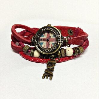 jewels charm bracelet leather bracelet leather watch watch freeforme british flag love bracelet fashion accessories red