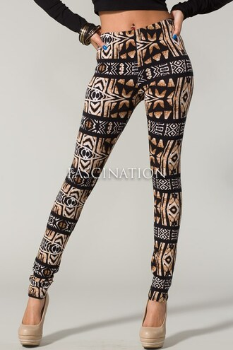 leggings black nude tribal pattern tribal leggings cute casual summer outfits summer spring spring outfits girly girl clothes pants bottoms tumblr tumblr outfit tumblr girl tumblr clothes fashion style bold colorful pattern sexy african print