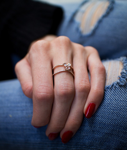 rose gold and diamond Double Band Moonstone ring – Luna Skye by