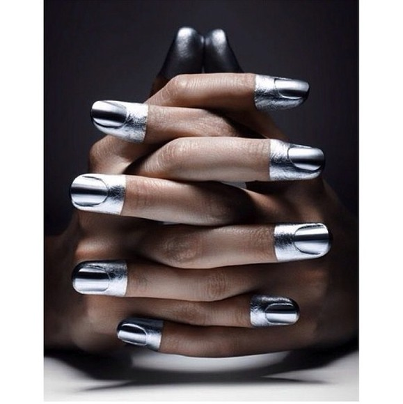 dip dyed nail polish metallic silver nails