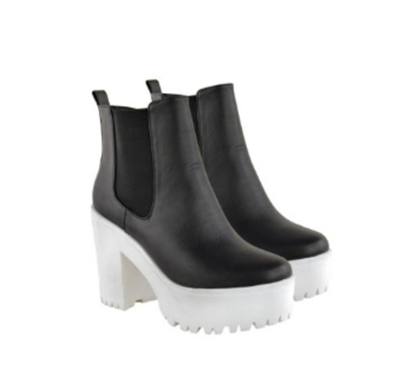 platform shoes chelsea boots boots black and white black and white shoes