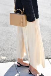 skirt,tumblr,white skirt,maxi skirt,long skirt,pleated,pleated skirt,bag,nude bag,sweater,black sweater,shoes,black shoes,flats,pointed flats,black flats,french girl style