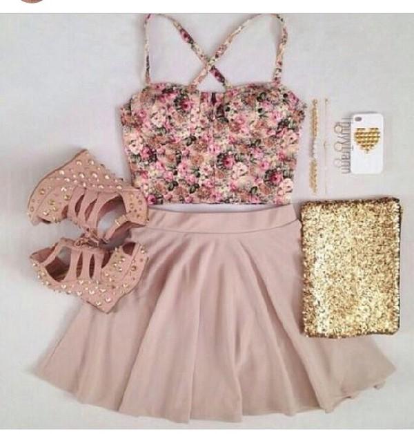 tank top skirt bag shoes floral tank top pink high heels pink skirt dress crop tops floral bralette skater skirt top coat earphones sapatos floral look cropped