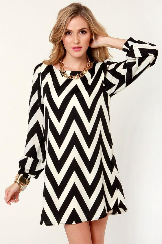 Zag Along Black and Ivory Striped Dress