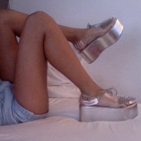 shoes creepers silver holographic clear studs platform shoes iridescent rainbow