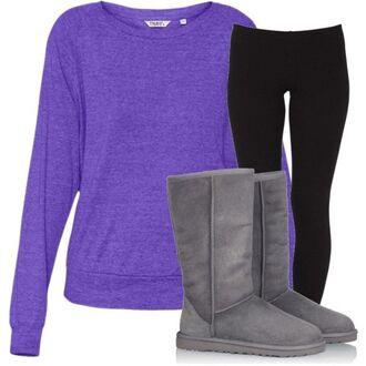 shirt purple purple longsleeve purple long sleeve purple long-sleeve loong sleeve long sleeves long-sleeve gray gray uggs gray ugg boots ugg boots black black leggings leggings pants shoes sweater