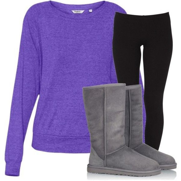 pants black leggings black leggings shoes shirt purple purple longsleeve purple long sleeve purple long-sleeve loong sleeve longsleeve long-sleeve grey gray uggs gray ugg boots uggs ugg boots